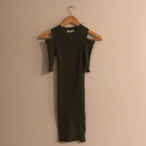 Bodycon Shoulder Cut Out, Olive Green